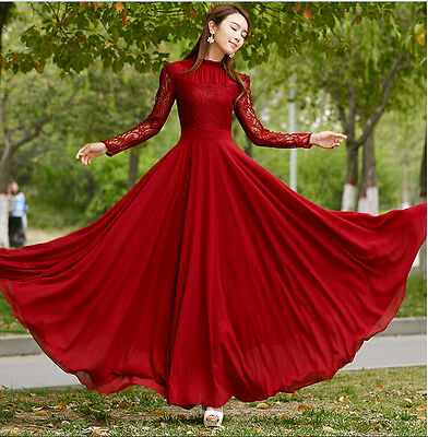 Women's Chiffon Lace Long sleeve  Ball Gown Evening Cocktail Formal Party Dress