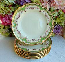7 Fine Copeland Spode Porcelain Dinner Plates Rose Swags Gold Encrusted