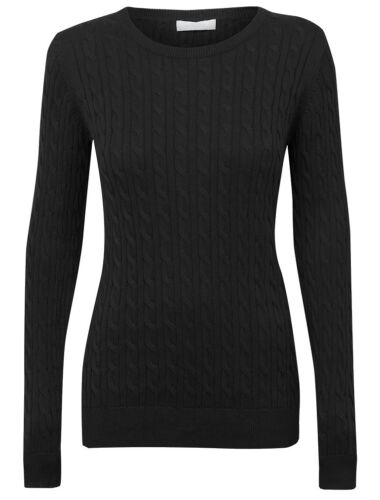 New Womens Ladies Knitted Black cable knit jumper Size 8 10 12 14 16