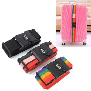 Adjustable Luggage Suitcase Straps Baggage Belt Safe Tie Down w/Combination Lock