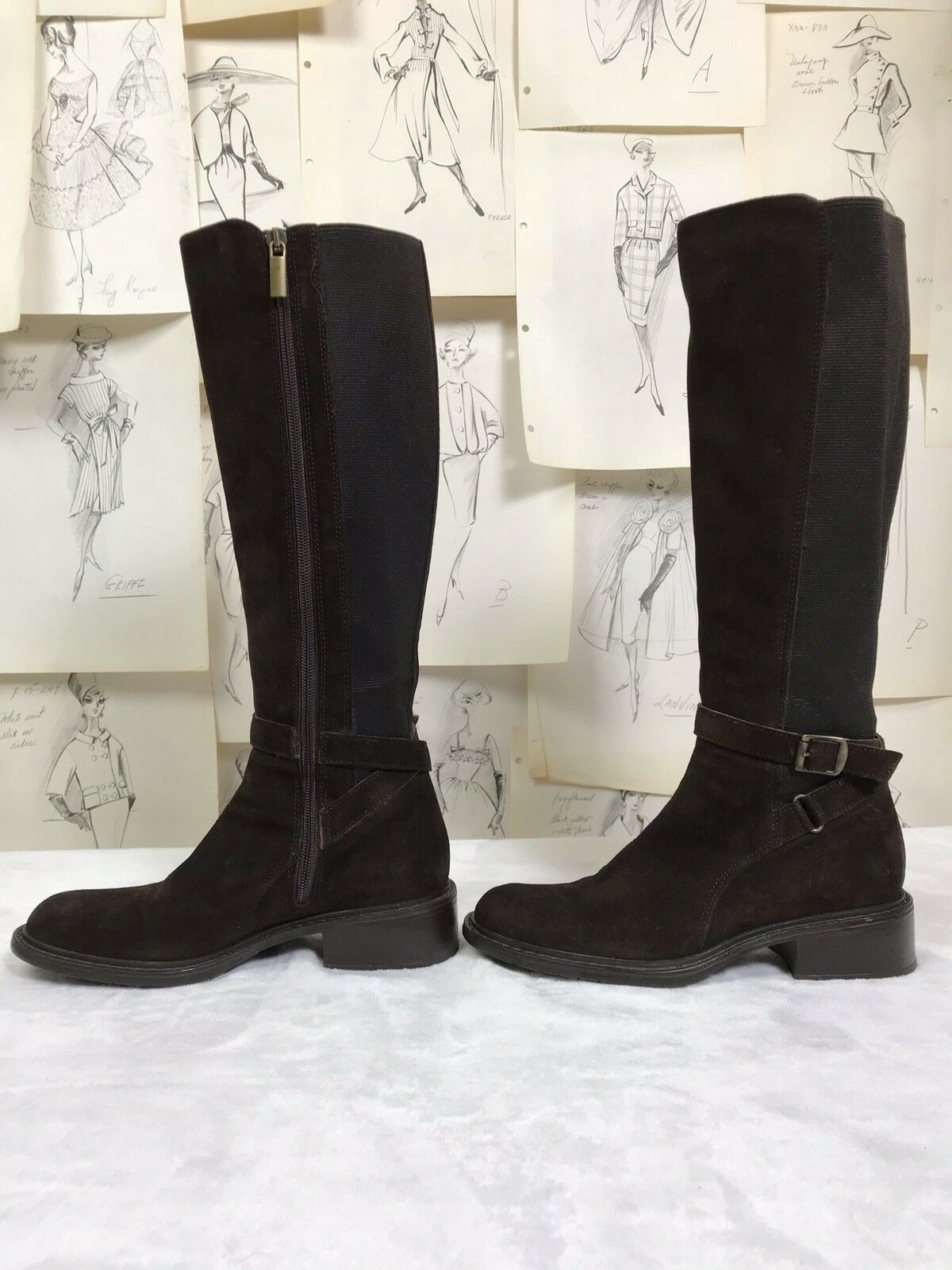 Aquatalia by Marvin K Uriale Tall Suede Braun Riding Riding Braun Stiefel EU 36 US 5 Waterproof f960d1