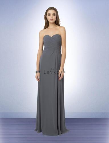 Bill Levkoff Bridesmaid Dress 776 Prom Wedding Chiffon Long Gown Strapless NEW