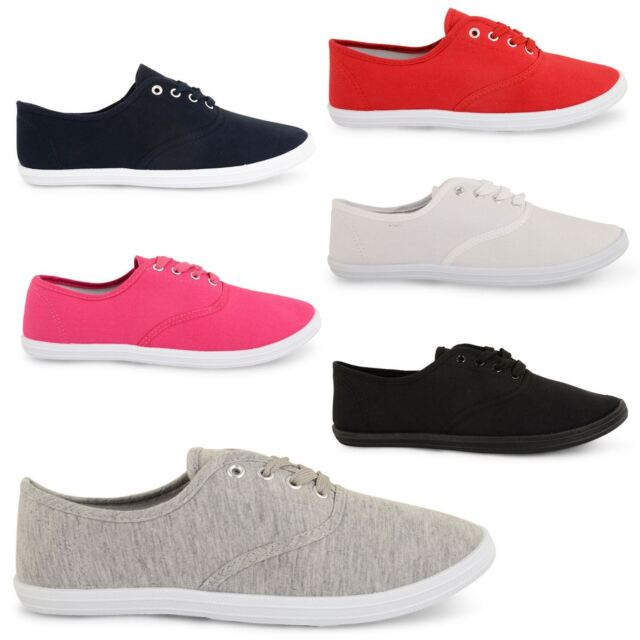 NEW LADIES FLAT CANVAS HOT LACE UP SUMMER COLOURFUL PUMPS TRAINERS SIZES UK 3-8