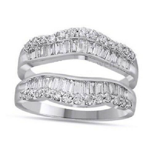 1.00 Ct Round & Baguette Natural Diamond Wrap Guard Enhancer Ring 14K White gold