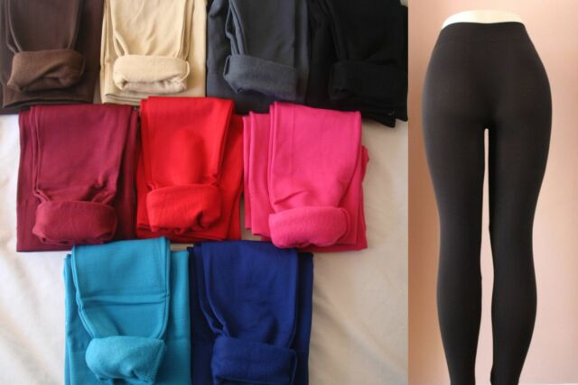Womens S M L Warm Fleece Thick Skinny Stretch Footless Leggings Pants Yoga