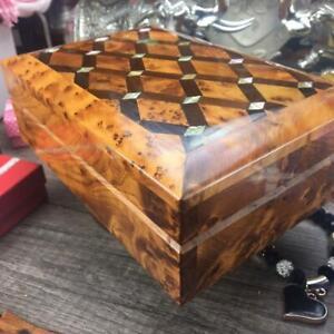 Keepsake jewelry thuya wooden box, hand carved Mosaic patterns polished box