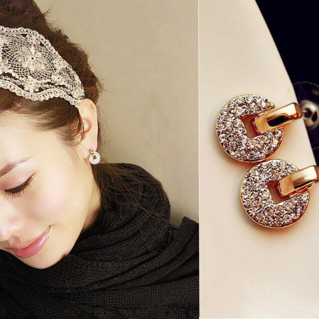 1 Pair Fashion Women Lady Elegant Crystal Rhinestone Ear Stud Earrings Gift Hot
