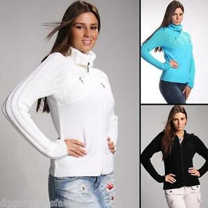 9c24ba91e1fd Ladies Sweater Front Zip Womens Top Jumper Cardigan Knitted ...