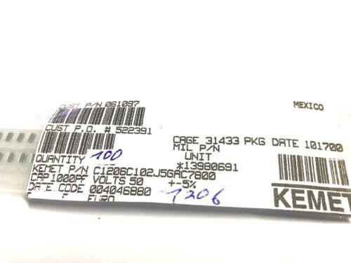 1000pf 1206 100 unités Kemet x7r 5/% 1nf c1206c102j5gac7800 50 V