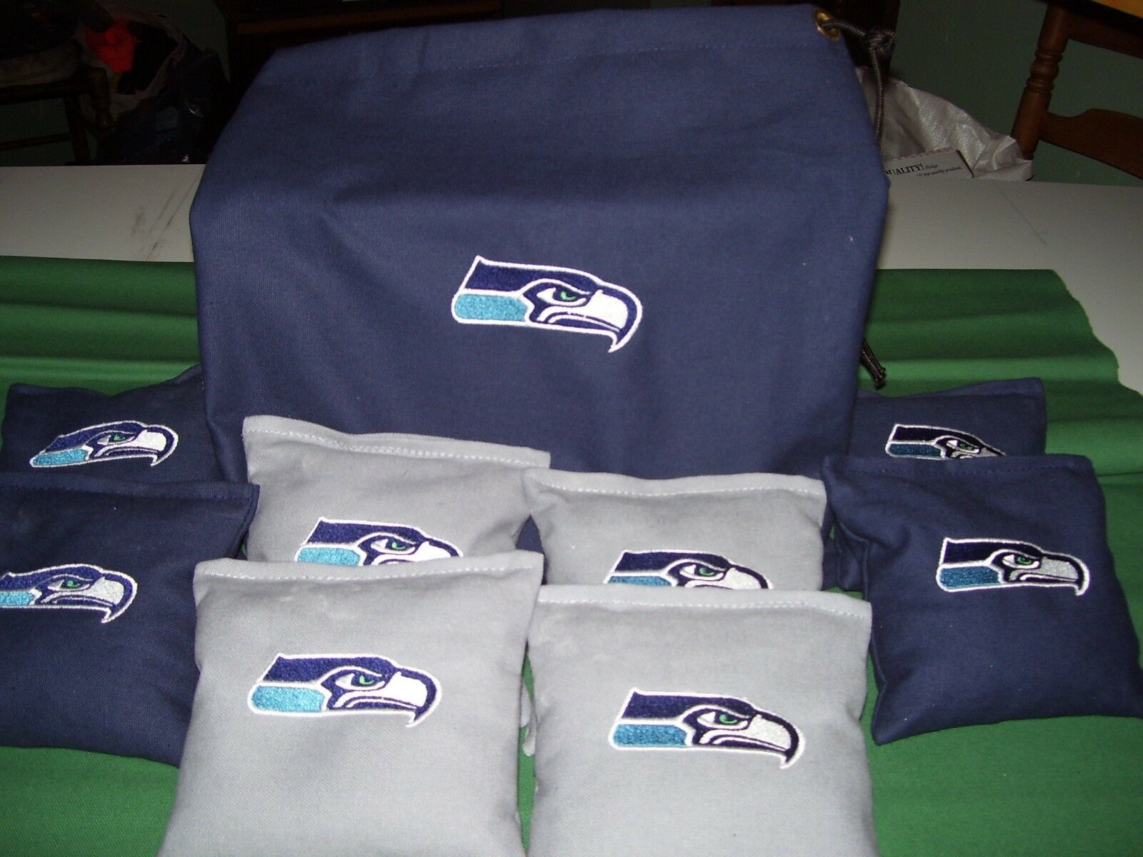 Seattle Seahawks  Embroidered Cornhole Corn Hole Bags Set of 8 with Storage Bag  incredible discounts