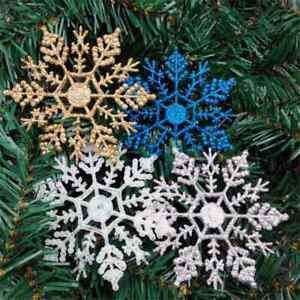 24pcs Snowflakes Christmas Tree Decoration 10cm Plastic Glitter Snow Flake USA