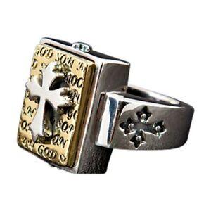 14K YELLOW GOLD DESIGNER CROSS 925 STERLING SILVER RING NEW BIKER ROCKER PUNK
