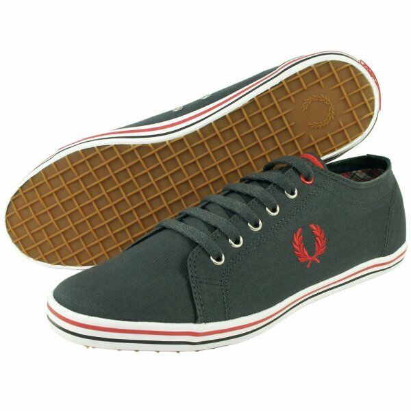 MENS FRED PERRY KINGSTON TWILL CANVAS PLIMSOLLS PUMPS - UK SIZE 6 - CHARCOAL.