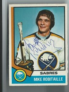 Mike Robitaille Signed 1974/75 O-Pee-Chee Card #159
