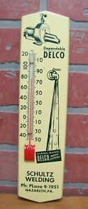 GENERAL-MOTORS-DELCO-Water-Systems-SCHULTZ-WELDING-Nazareth-Pa-Sign-Thermometer