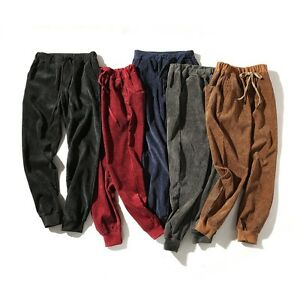 Men-Corduroy-Cropped-Trousers-Draw-String-Waist-Pants-Jogger-Classic-Soft-Casual