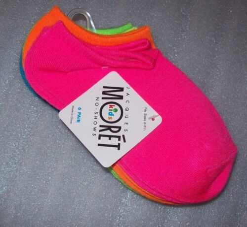 GIRLS JACQUES NO SHOW SOCKS 6 PAIR PER PACK MULTIPLE COLORS PER PACK NEW W// TAGS