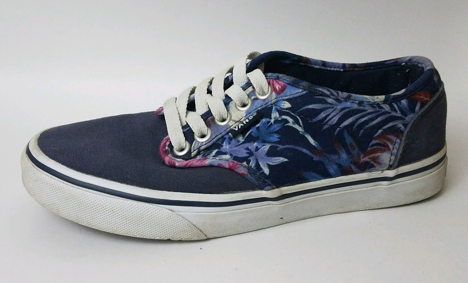 Vans Navy Blue Purple Floral Womens 6 Med Canvas Skate Shoes Sneakers Red Casual