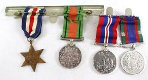 1939-1945-Great-Britain-and-Canada-WWII-Medals-with-Ribbons-on-Bars-4-Medals
