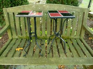 2-vintage-mid-century-modern-wrought-iron-side-end-tables-stands-20-034-Tall