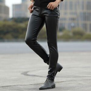 Hommes Simili Cuir Pantalon Noir Pu Leggings Extensible Effet Mouillé Slim Fit