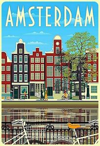 Amsterdam-Netherlands-Tin-Sign-Shield-Arched-7-7-8x11-13-16in-FA1821