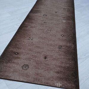 moderner-Velours-Teppich-Laeufer-034-AW-GABBEH-braun-034-80-cm-breit-rutschfest