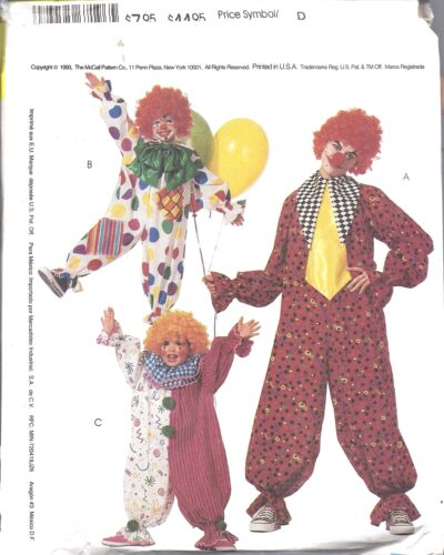 6719 8869 UNCUT McCalls SEWING Pattern Clown Halloween Costumes Jester Kid Adult