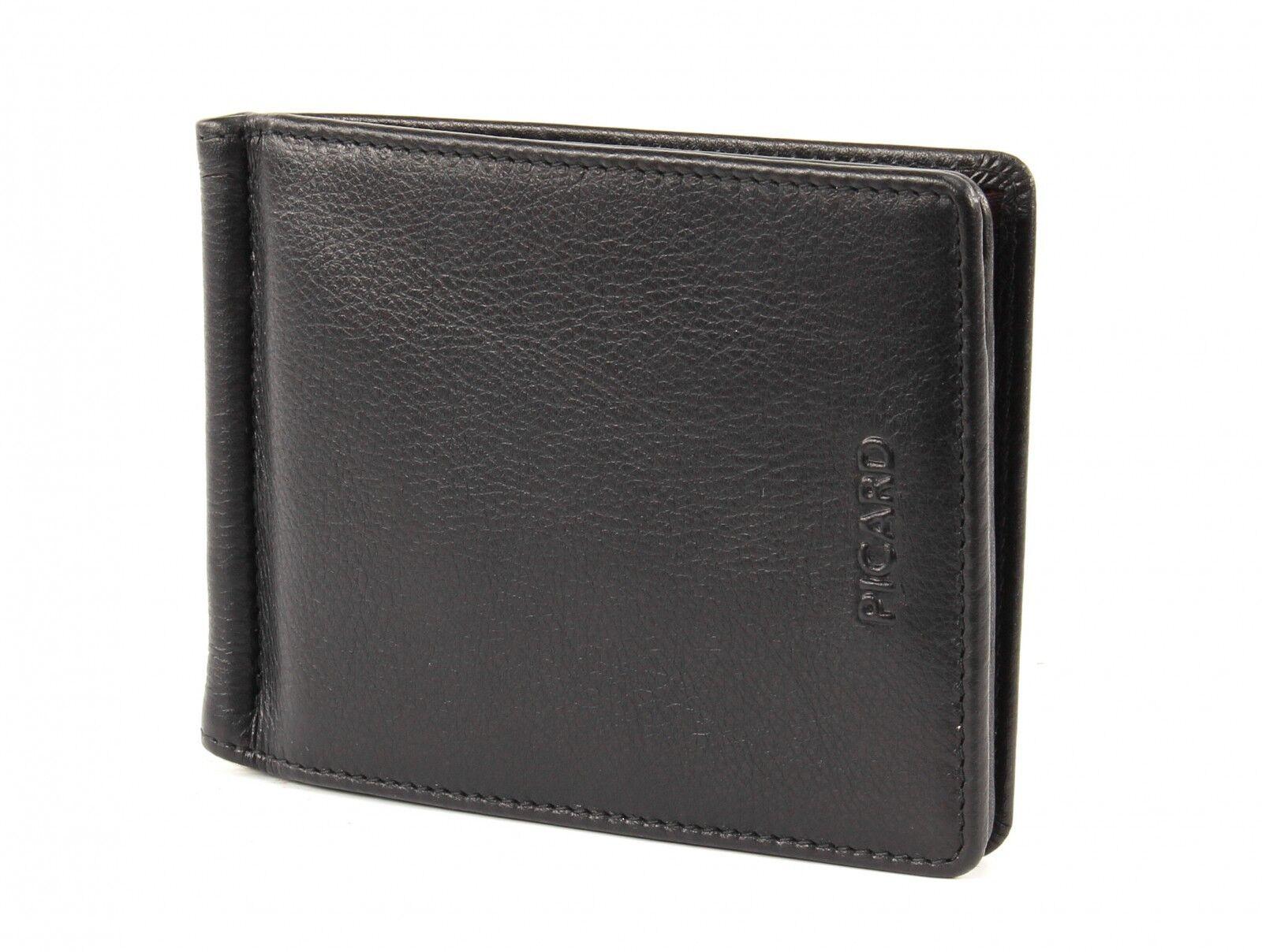 PICARD Brooklyn Geldclip Geldklammer Geldbörse Portemonnaie Leder Schwarz Neu  | Schön geformt