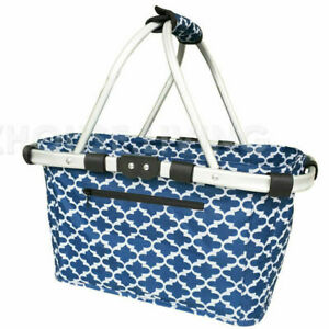 Sachi Collapsible Carry Basket with 2 Handle - Moroccan Navy