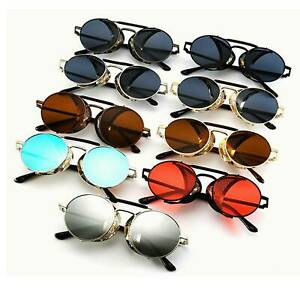 Vintage-Metal-Steampunk-Round-Sunglasses-Men-Women-Side-Shield-Shade-Eyewear
