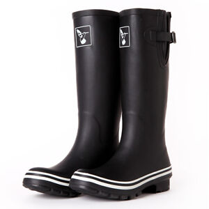 87ca0ad9afc Evercreatures UK Brand Fashion Women s Black Rain Boots Rubber Boots ...