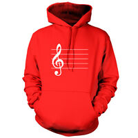Treble Clef - Unisex Hoodie - 9 Colours - Guitar - Piano - Music - Free Uk P&p