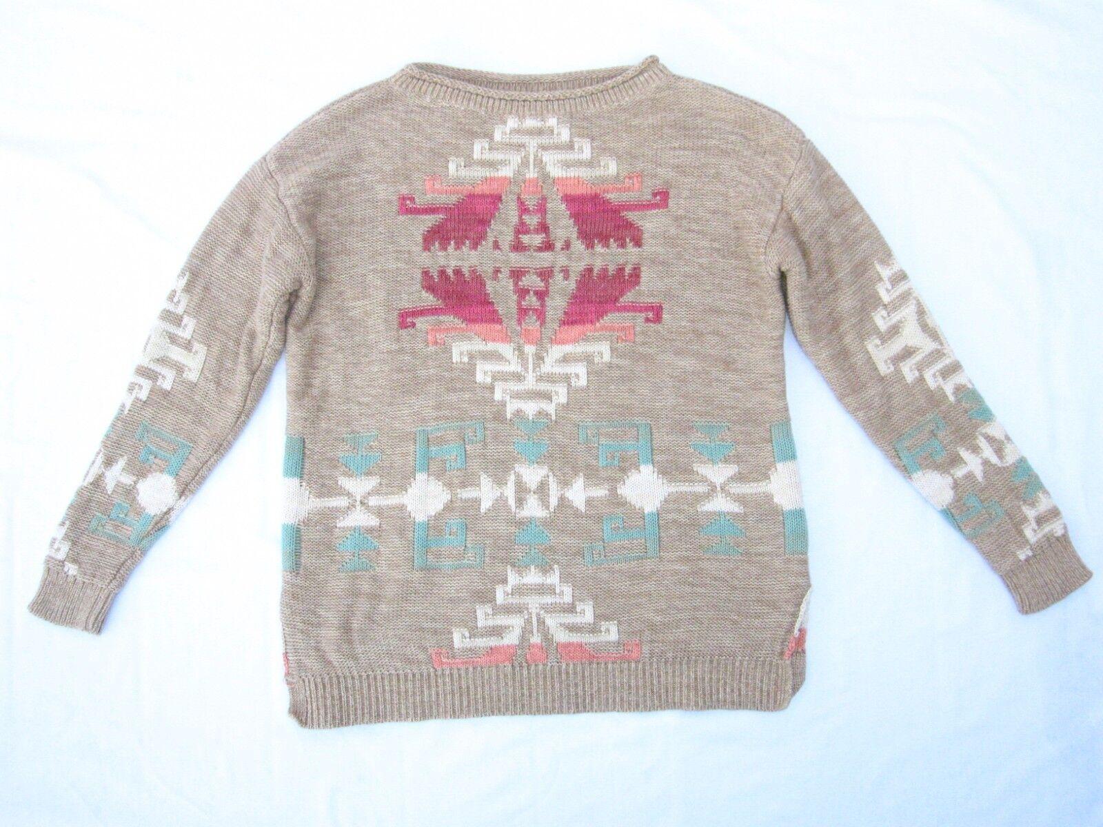 d5e5d86f2a Lauren Ralph Lauren Tan Split Hem Southwestern Aztec Knit Sweater Size L