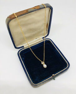 Vintage-Necklace-Gold-Tone-Chain-Faux-Pearl-Diamante-Pendant-Dainty-Pretty-Gift