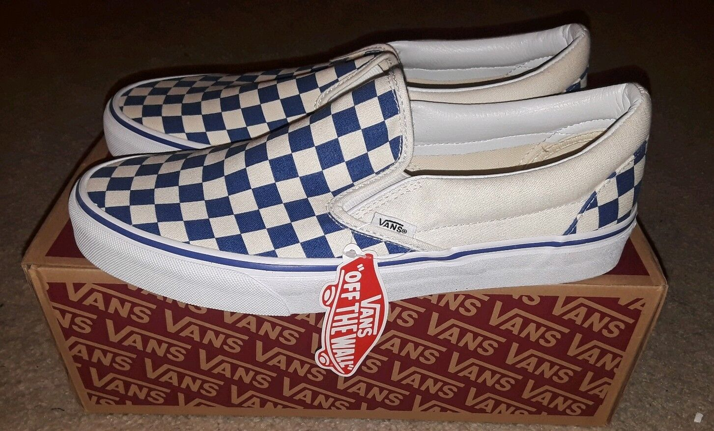 Uomo VANS Classic Slip On Checkered Shoes True Blue White 10