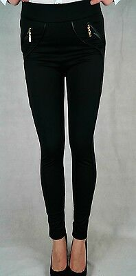 LADIES LONG BLACK STRETCH TROUSERS SKINNY PANEL LEGGINGS SEXY JEGGINGS SIZE S