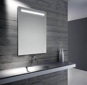 Specchio design moderno da bagno retroilluminato con luce a led 70x50 cm ebay - Specchi da bagno design ...