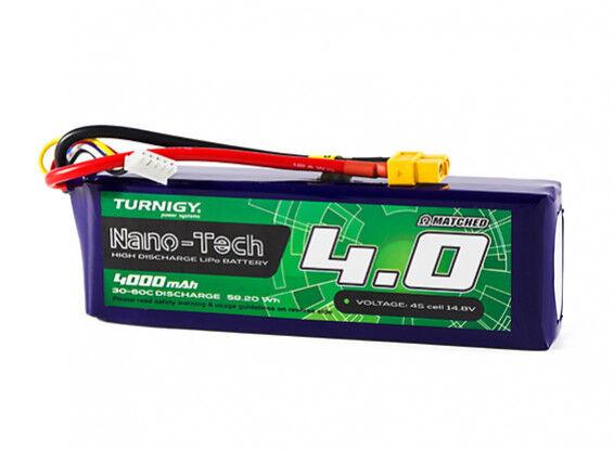 Turnigy Nano-Tech 4000mAh 4S 14.8V 30C 60C LiPo Battery Pk XT60 FPV Multirotors