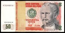 "PERU 50 Intis 131b P UNC from 1987; /""A/"" Prefix; Oil Rig; FREE SHIPPING Can//US"