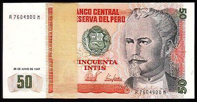 Consecutive 5 Pcs Lot Unc,P-131B Peru 50 Intis 1987