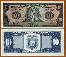 Ecuador, 10 Sucres, 1988, P-121, UNC > Pre-USD$