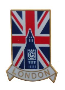 London Big Ben (Elizabeth Tower) & Union Jack Pin Badge