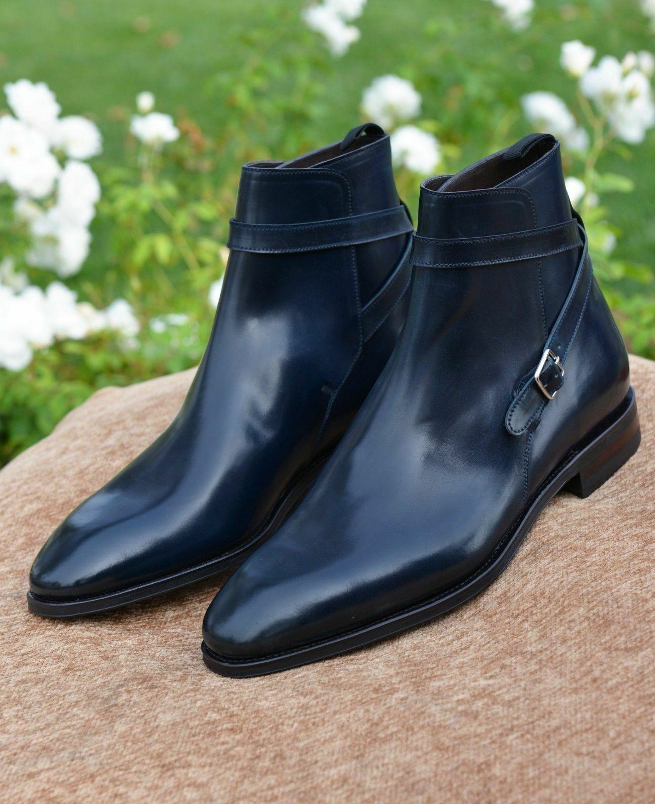 Mens Handmade Boots Jodhpurs Navy bluee Leather Formal Dress Casual Wear shoes New