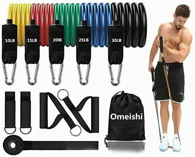 Physical Therapy Carry Bag for Resistance Training Ankle Straps Home Workout Bands Yoga Door Anchor Pilates omeishi Resistance Bands Set 11 Pieces with Exercise Bands