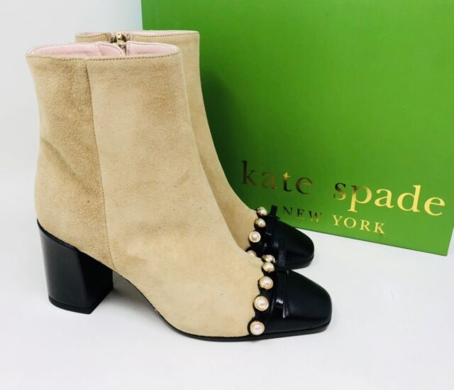 Kate Spade Womens Orton Bow Pearl Cap Toe Block-Heel Ankle Boots Size 5 Amaretto