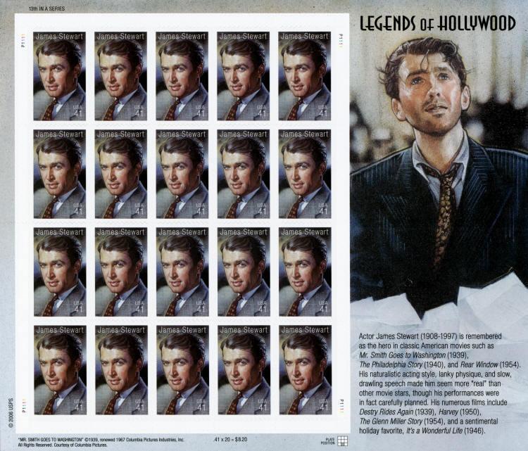 2007 41c James Stewart, Legends of Hollywood, Sheet of