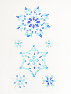 Snowflake-Stickers-Sparkly-Blue-Resin-Rhinestone-Self-Adhesive-Embellishments
