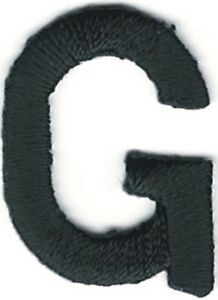 """1/"""" Tall Black Monogram Block Letter G Embroidery Patch"""