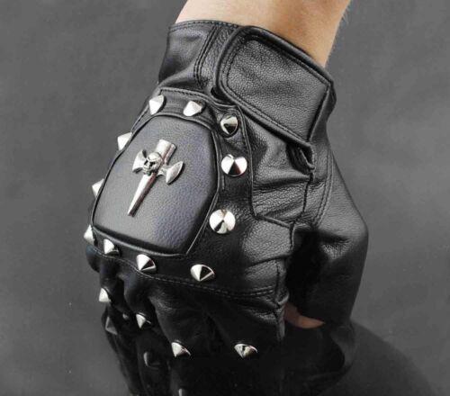 Punk Rocker Men/'s Leather the skull Motorcycle Biker Driving Fingerless Gloves